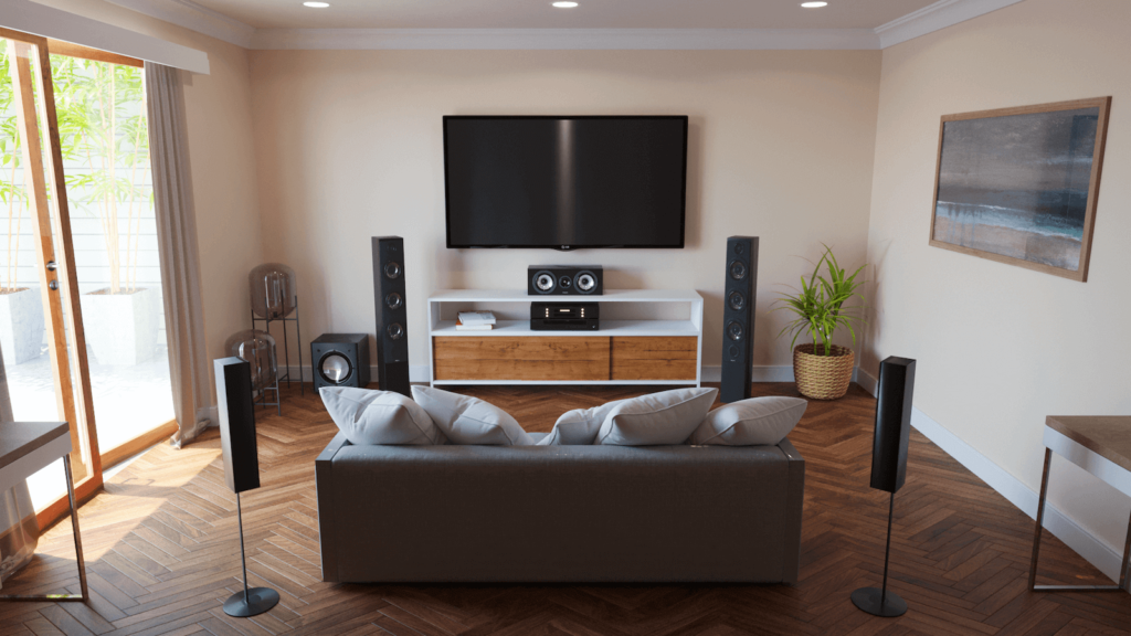 sound bar vs surround sound - space