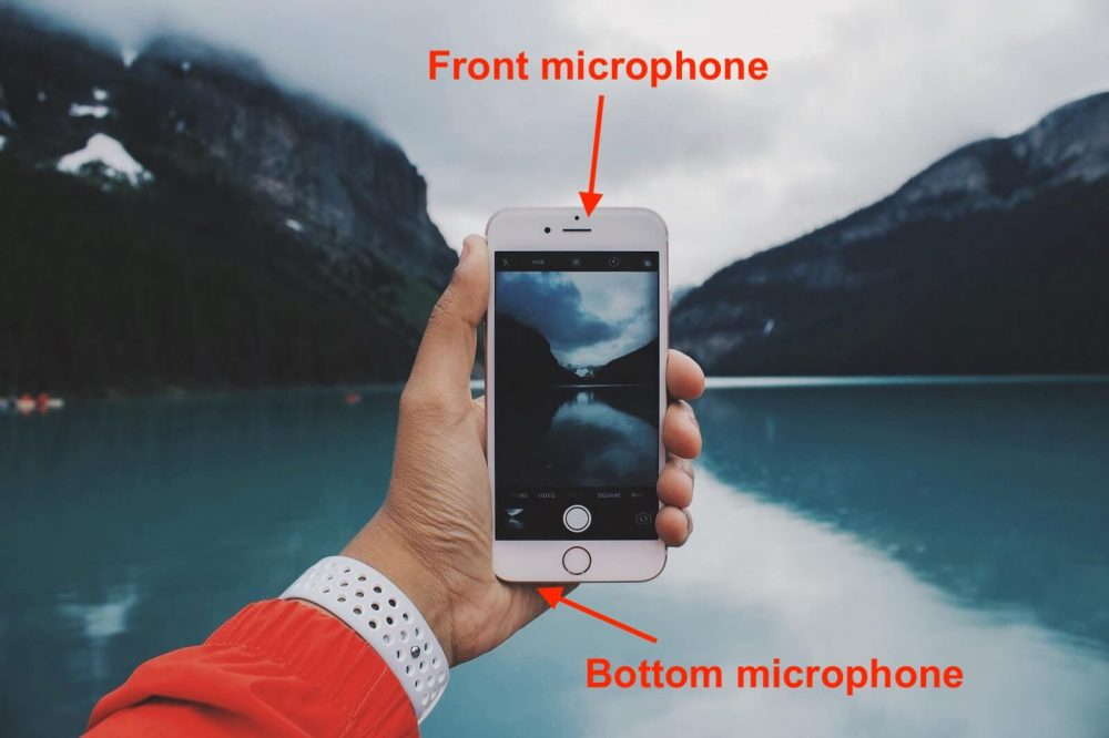 where is the microphone on iphone 8 - front and bottom