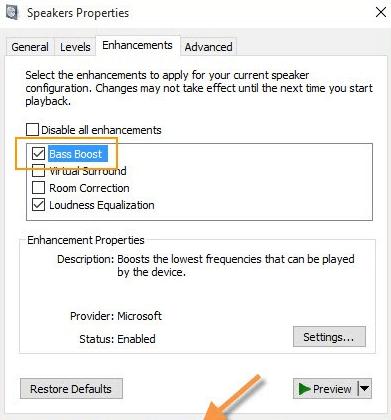 How to adjust Bass on Windows 10 - bass boost